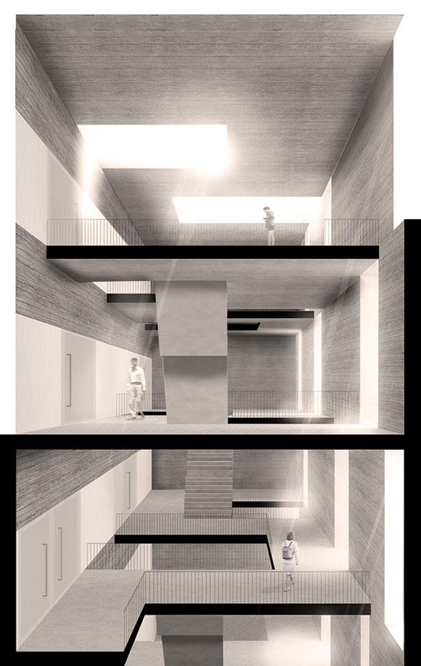 Propuesta Senda Luminosa para el Concurso Restringido Nuevo aulario y biblioteca para la USJ, Zaragoza (2015).