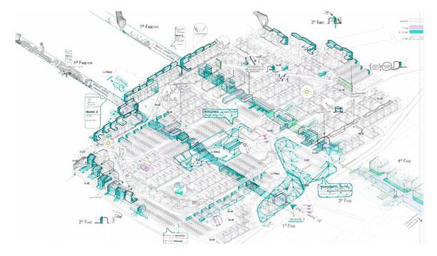 """Ponente en el congreso """"Ciudades Creativas"""" Madrid. Axonometría """"Estrategias de reactivación Urbana en el Poblado Dirigido de Fuencarral"""". (Enero 2016)."""