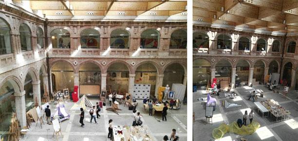 Prototipos a escala 1:1 realizados con los estudiantes de 1º curso de Proyectos Arquitectónicos 1 de la Escuela de Arquitectura de Alcalá en el curso 2016-2017. Mediante el proyecto de innovación docente UAH/EV852. Fotografías elaboración propia. (Junio 2017)